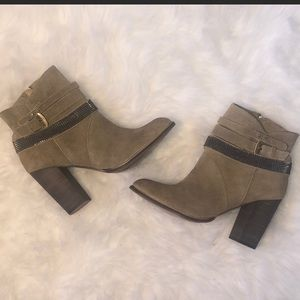 Chinese Laundry Tan Suede Studded Booties w Buckle
